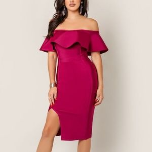 Wow Couture Off Shoulder Slit Wine Bandage Dress